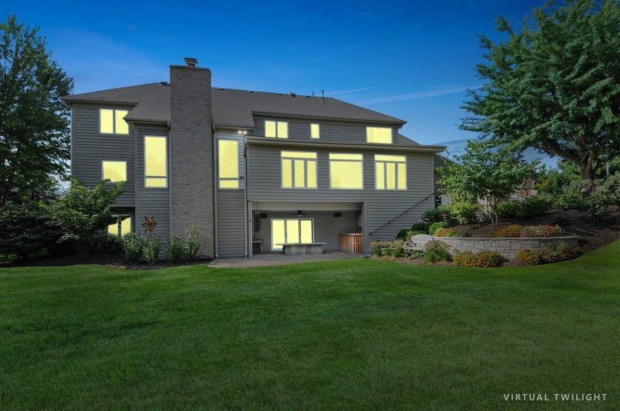 Real Estate Photography - 12461 BRIGHTON Lane, Plainfield, IL, 60585 - Rear View night