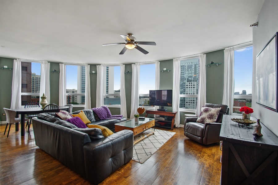 Real Estate Photography - 421 W. Huron Street, Unit 1001, Chicago, IL, 60654 - Living Room