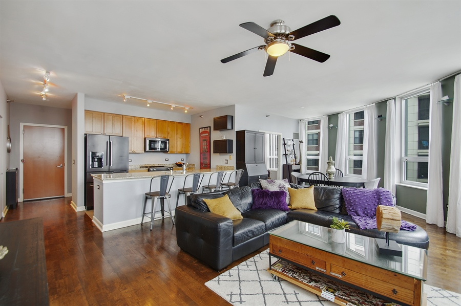Real Estate Photography - 421 W. Huron Street, Unit 1001, Chicago, IL, 60654 - Kitchen / Living Room