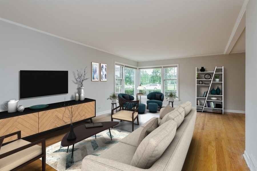 Real Estate Photography - 4618 W. Devon Avenue, Lincolnwood, IL, 60712 - Living room Staged