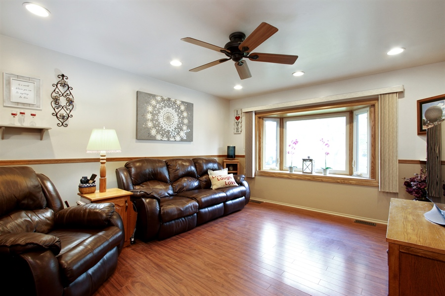 Real Estate Photography - 220 Briar Lane, Lindenhurst, IL, 60046 - LVNG RM W/RECESSED LIGHTING, FAN, & BAY WINDOW