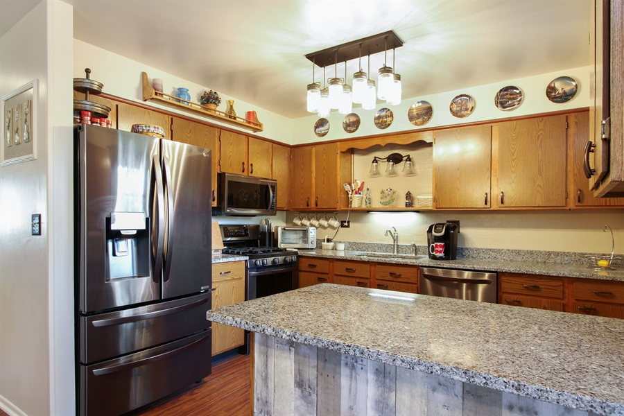Real Estate Photography - 220 Briar Lane, Lindenhurst, IL, 60046 - TOP OF THE LINE LG BLACK STAINLESS FRIDGE/FREEZER