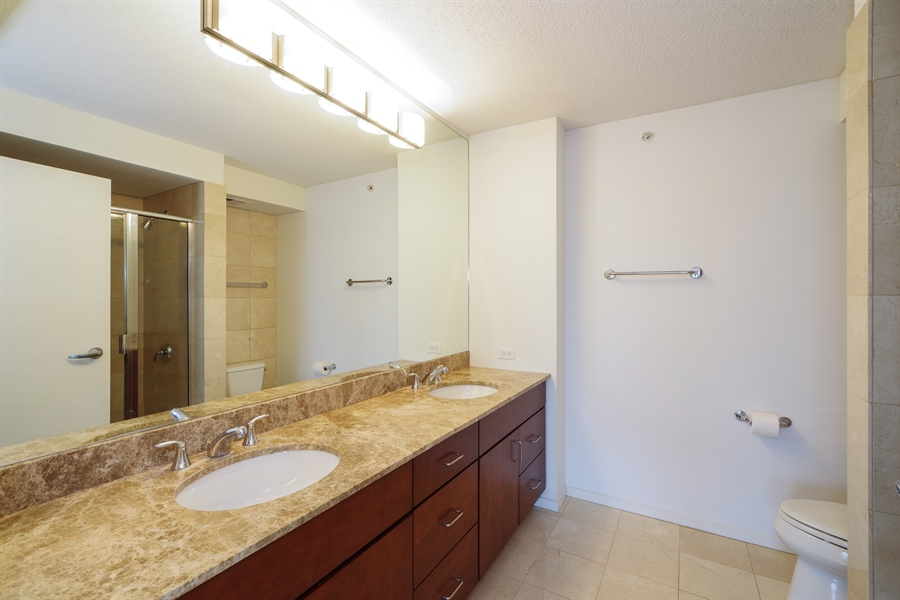 Real Estate Photography - 9725 Woods Drive, Unit 518, Skokie, IL, 60077 - Master Bathroom