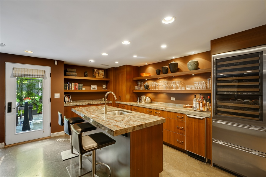 Real Estate Photography - 1329 N. Sutton Place, Chicago, IL, 60610 - Family Room with Wet Bar