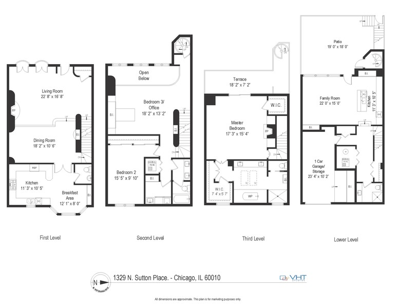 Real Estate Photography - 1329 N. Sutton Place, Chicago, IL, 60610 - Floor Plan