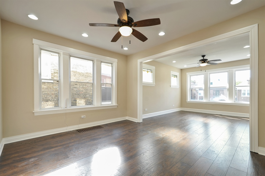 Real Estate Photography - 1515 N. Linder Avenue, Chicago, IL, 60651 - Living Room / Dining Room