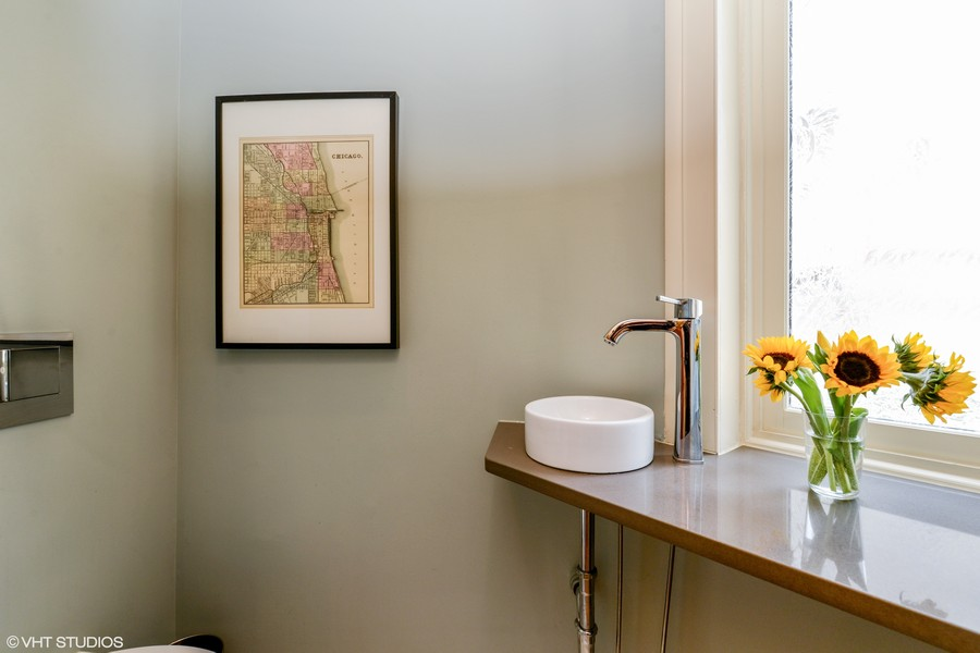 Real Estate Photography - 639 West Surf St, Chicago, IL, 60657 - Powder Room