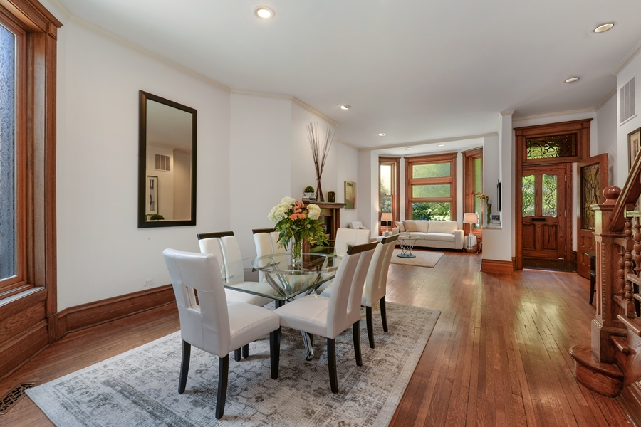 Real Estate Photography - 639 West Surf St, Chicago, IL, 60657 - Living Room / Dining Room