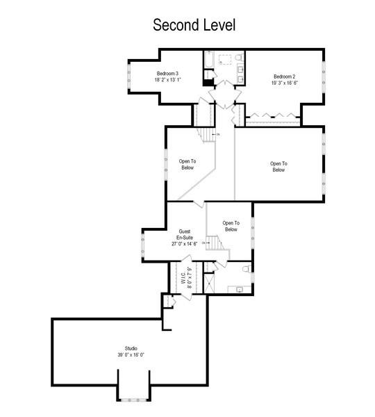 Real Estate Photography - 1411 Carlisle Drive, Barrington, IL, 60010 - Second Level Floor Plan