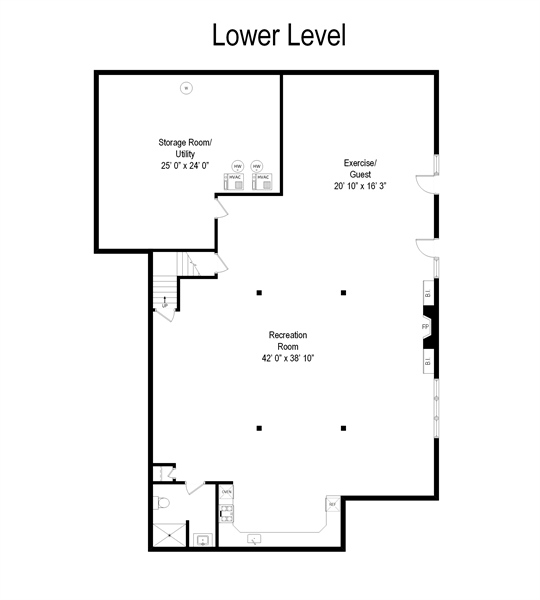 Real Estate Photography - 1411 Carlisle Drive, Barrington, IL, 60010 - Lower Level Floor Plan