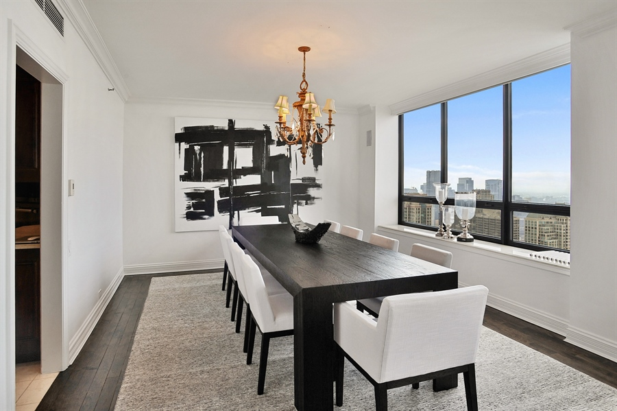 Real Estate Photography - 180 E Pearson, Unit 5501, Chicago, IL, 60611 - Dining Room