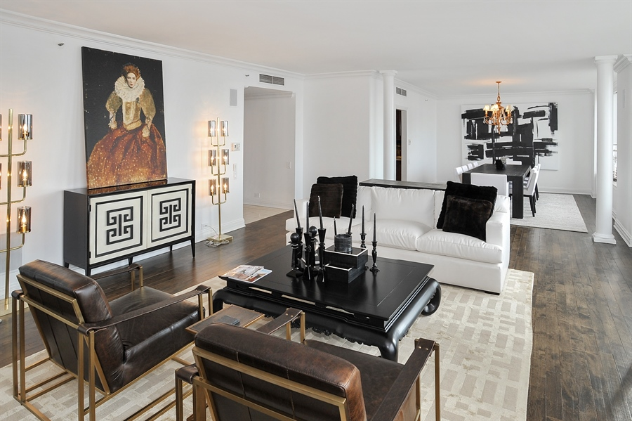 Real Estate Photography - 180 E Pearson, Unit 5501, Chicago, IL, 60611 - Living Room/Dining Room
