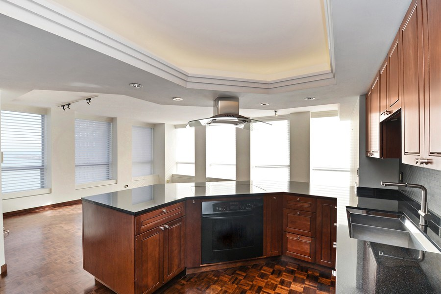 Real Estate Photography - 260 E. Chestnut Street, Unit 1412, Chicago, IL, 60611 - Kitchen / Living Room