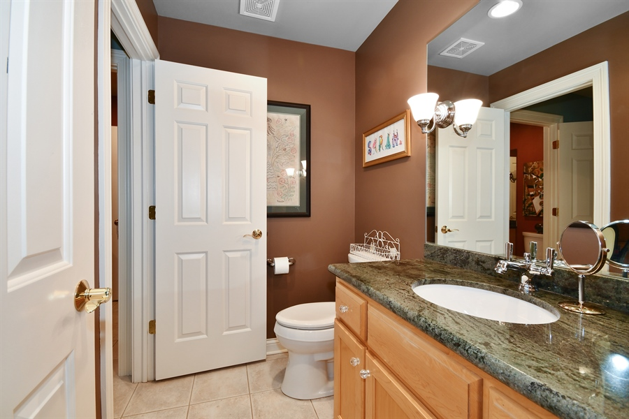 Real Estate Photography - 1221 Millet Street, Naperville, IL, 60563 - J & J bath... BR 2 & 3 has its own vanity