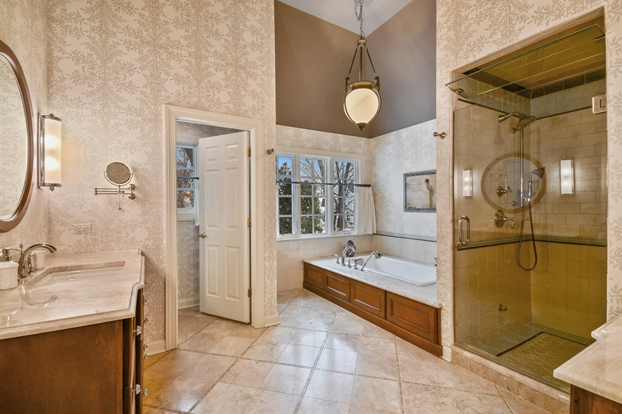 Real Estate Photography - 1221 Millet Street, Naperville, IL, 60563 - New Master Bath w/steam shower & heated floor