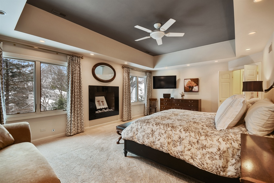 Real Estate Photography - 1221 Millet Street, Naperville, IL, 60563 - Luxury abounds on the MBR Suite w/gas FPL