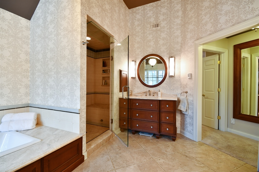 Real Estate Photography - 1221 Millet Street, Naperville, IL, 60563 - Master bath offers a great retreat-Fitted WIC beyo