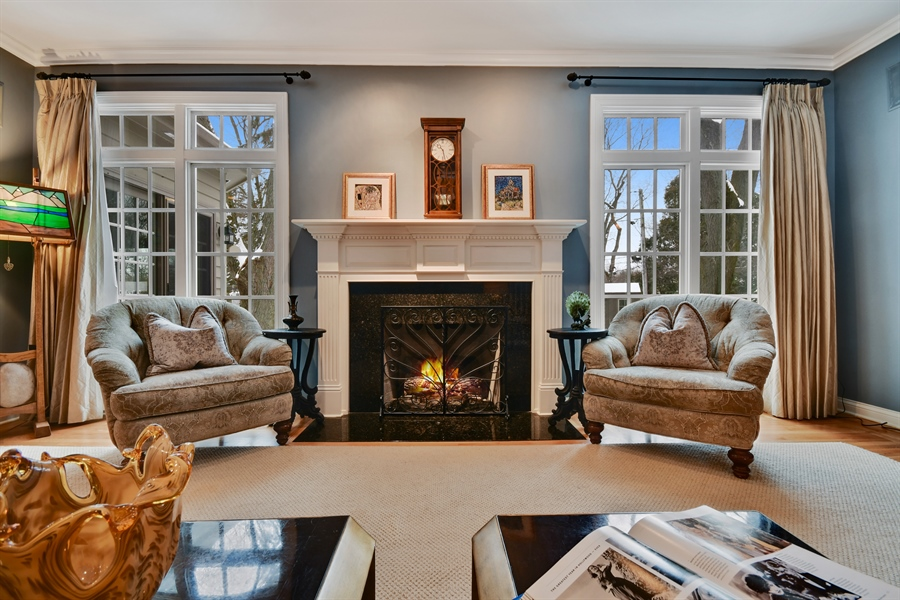 Real Estate Photography - 1221 Millet Street, Naperville, IL, 60563 - Relax by the fire in the FR- one of 3 interior FPL