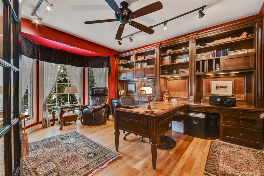Real Estate Photography - 1221 Millet Street, Naperville, IL, 60563 - Private work-from-home study w/walls of built-ins
