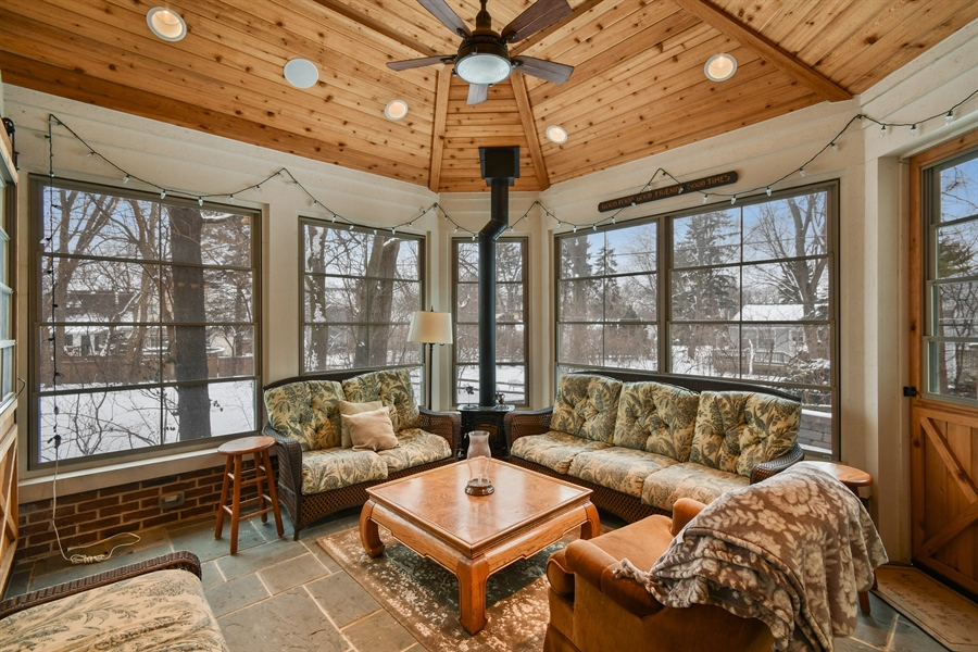 """Real Estate Photography - 1221 Millet Street, Naperville, IL, 60563 - FPL makes the """"Cottage"""" porch cozy & warm"""