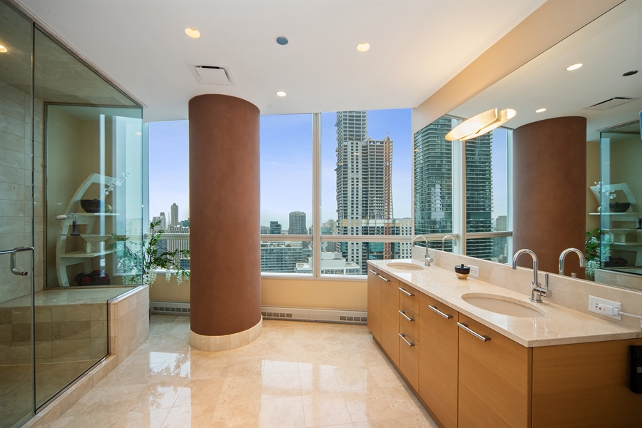 Real Estate Photography - 340 E. RANDOLPH Street, Unit 5401, Chicago, IL, 60601 - Master Bathroom