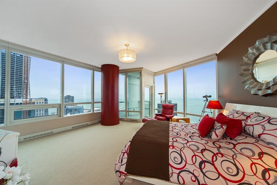 Real Estate Photography - 340 E. RANDOLPH Street, Unit 5401, Chicago, IL, 60601 - Master Bedroom