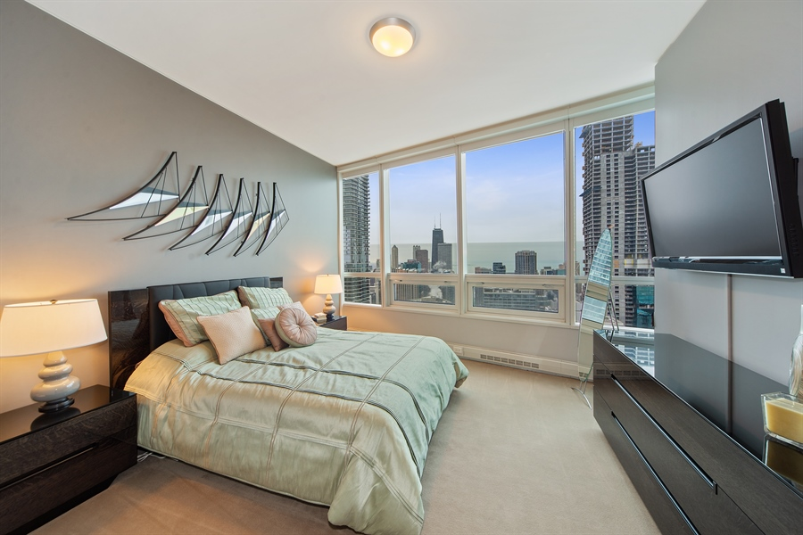Real Estate Photography - 340 E. RANDOLPH Street, Unit 5401, Chicago, IL, 60601 - Bedroom