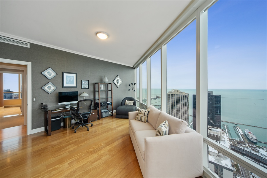 Real Estate Photography - 340 E. RANDOLPH Street, Unit 5401, Chicago, IL, 60601 - Office/Bedroom