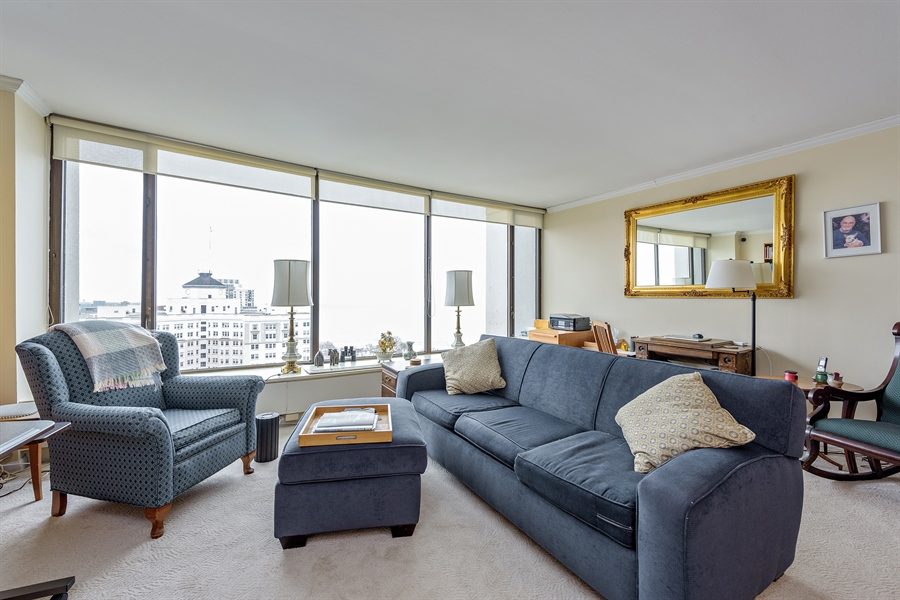 Real Estate Photography - 5455 N. Sheridan Road, Unit 2703, Chicago, IL, 60640 - Living Room
