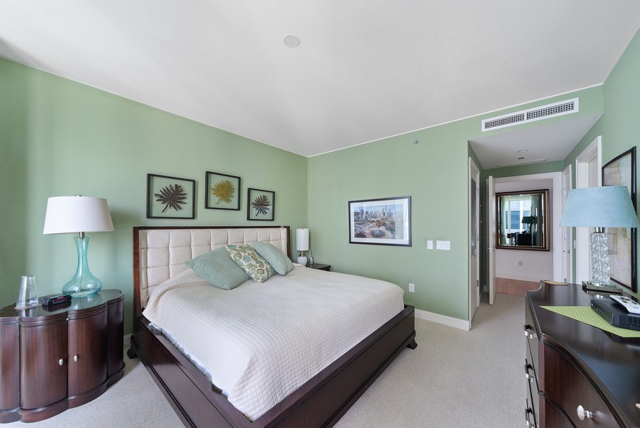 Real Estate Photography - 340 E. Randolph Street, Unit 1706, Chicago, IL, 60601 - Master Bedroom