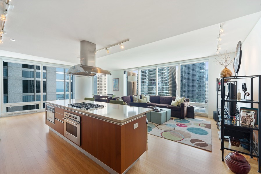 Real Estate Photography - 340 E. Randolph Street, Unit 1706, Chicago, IL, 60601 - Kitchen/Living
