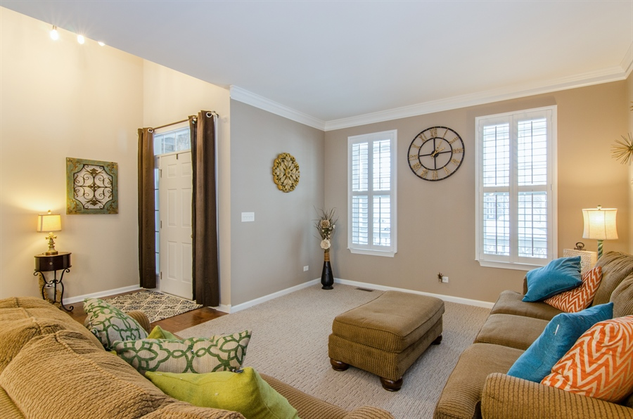 Real Estate Photography - 758 Goodfield Landing, Elgin, IL, 60124 - Formal Living Room with Plantation shutters!