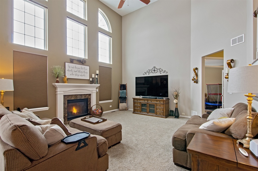 Real Estate Photography - 758 Goodfield Landing, Elgin, IL, 60124 - Spacious Family Room with Cozy Fireplace