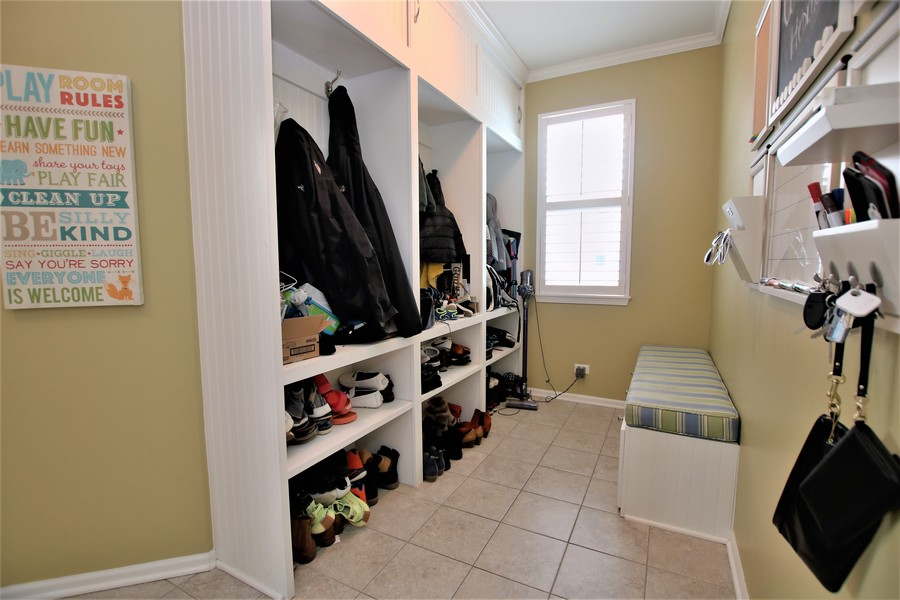 Real Estate Photography - 758 Goodfield Landing, Elgin, IL, 60124 - Mud Room with Built-in Storage Lockers & Bench!