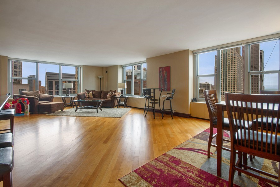 Real Estate Photography - 777 N. Michigan Avenue, Unit 2101, Chicago, IL, 60611 - Living Room / Dining Room