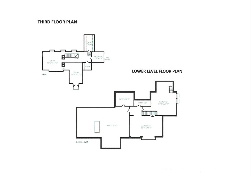 Real Estate Photography - 111 E. ONWENTSIA Road, Lake Forest, IL, 60045 - Floor Plan -- Third Floor & Lower Level