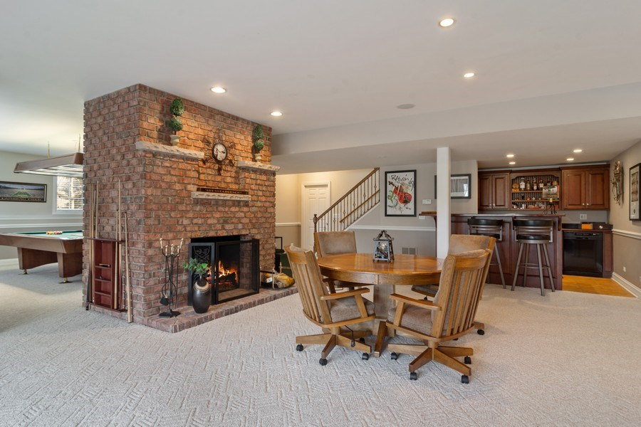 Real Estate Photography - 15 Woodview Lane, Inverness, IL, 60067 - Wet Bar with Fireplace