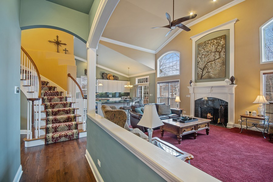 Real Estate Photography - 1508 Cocalico Court, Naperville, IL, 60563 - Sweeping custom staircase and runner