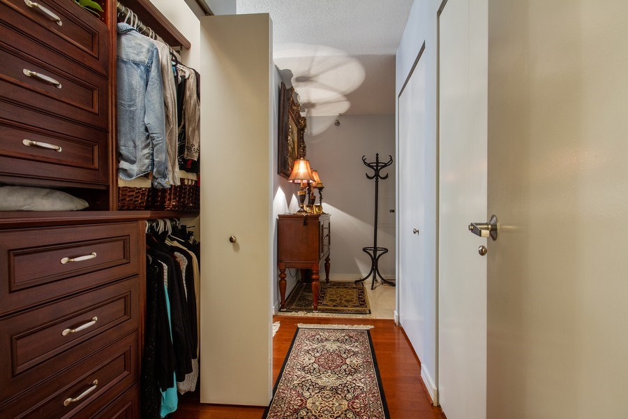Real Estate Photography - 512 N. Mcclurg Court, Unit 1603, Chicago, IL, 60611 - Master Bedroom Closet
