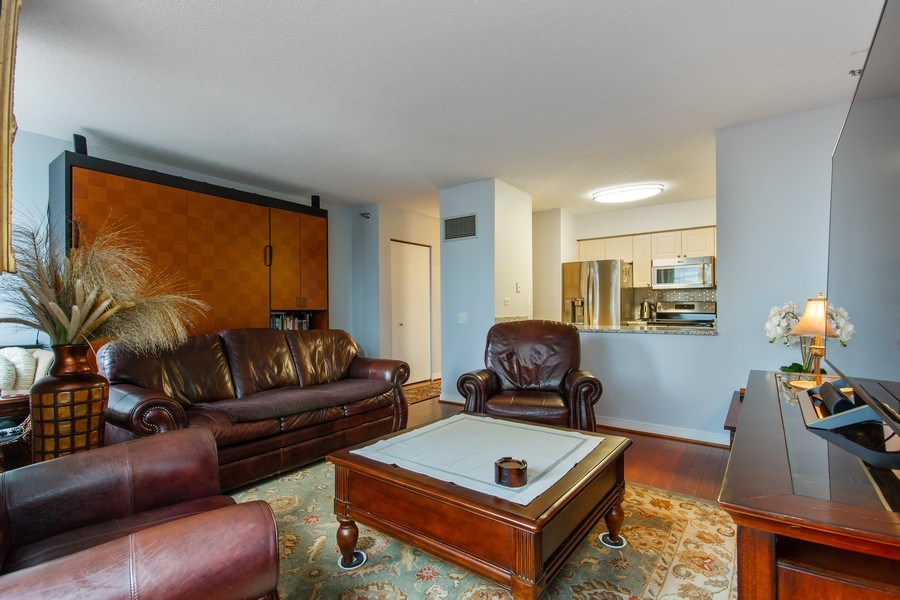 Real Estate Photography - 512 N. Mcclurg Court, Unit 1603, Chicago, IL, 60611 - Kitchen / Living Room