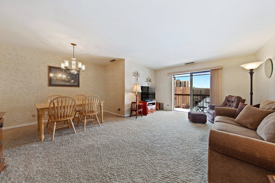 Real Estate Photography - 2201 S. Grace Street, Unit 507, Lombard, IL, 60148 - Living Room / Dining Room
