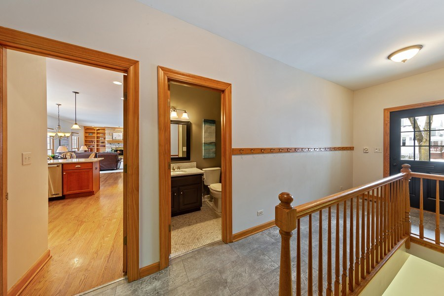 Real Estate Photography - 425 E. Oak Avenue, Wheaton, IL, 60187 - Mud Room and Powder Room, Stairs to Basement