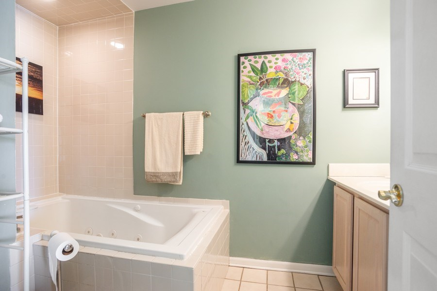 Real Estate Photography - 218 W. Wimbolton Drive, Mount Prospect, IL, 60056 - Master Bathroom with Jacuzzi Tub