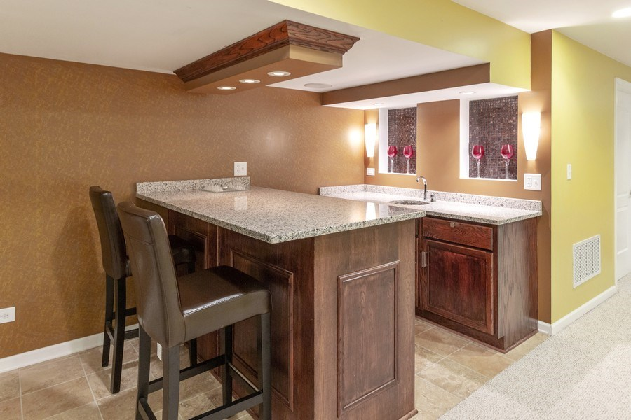 Real Estate Photography - 13602 Rockefeller Circle, Plainfield, IL, 60544 - Basement Bar Area