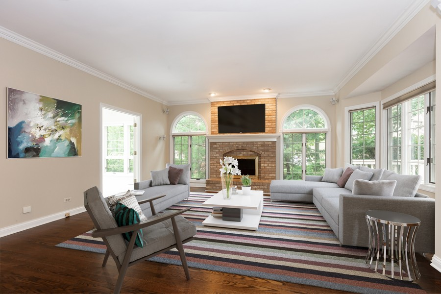 Real Estate Photography - 107 BRIDGEWATER Court, Naperville, IL, 60565 - Virtual Staged Family Room