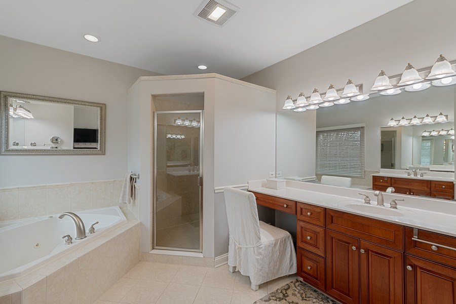 Real Estate Photography - 647 Plainfield Naperville Road, Naperville, IL, 60540 - Master bath leads into to custom WIC