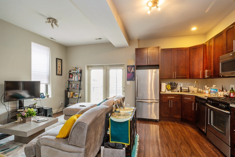 Real Estate Photography - 1312 N. Claremont Avenue, Chicago, IL, 60622 - Kitchen / Living Room