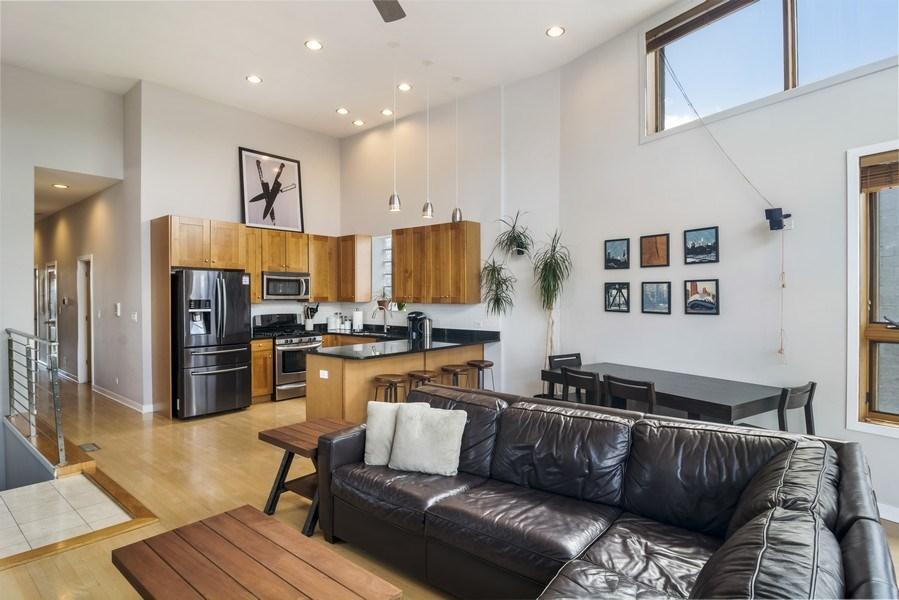 Real Estate Photography - 2125 N. DAMEN Avenue, Unit 4, Chicago, IL, 60647 - Kitchen / Living Room