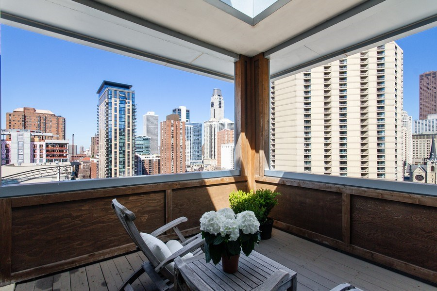 Real Estate Photography - 101 W. Superior Street, Unit 1204, Chicago, IL, 60611 - Open Covered Deck with Skylight