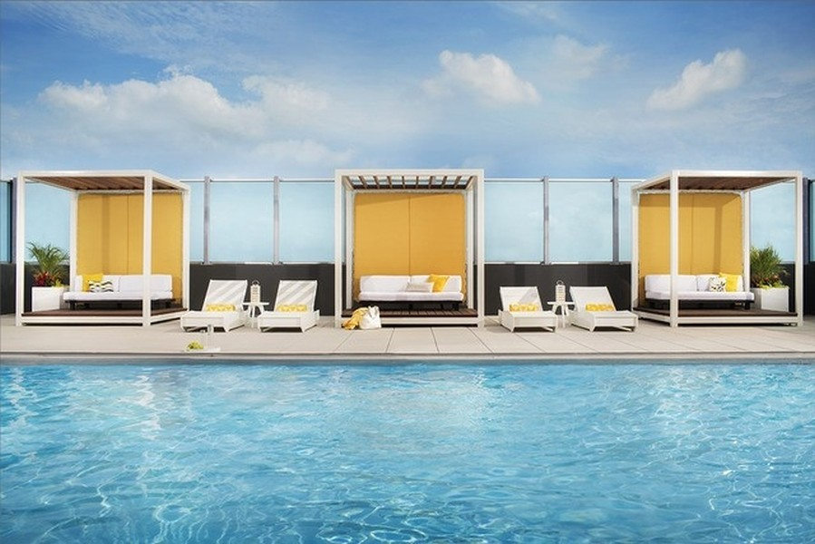 Real Estate Photography - 1901 S. Calumet Avenue, Unit 1407, Chicago, IL, 60616 - Rooftop Pool with Cabanas